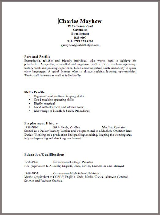 curriculum vitae template word free httpwwwresumecareerinfo - Copy Of A Resume Format