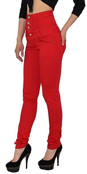 69afa88cd478f9 by-tex Damen Jeans Hose Skinny Damen Röhrenjeans High Waist Jeanshose  Hochbund in vielen Farben