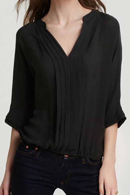 ROMWE | ROMWE V-neck Crop Sleeve Pleated Black Chiffon Blouse, The Latest Street Fashion