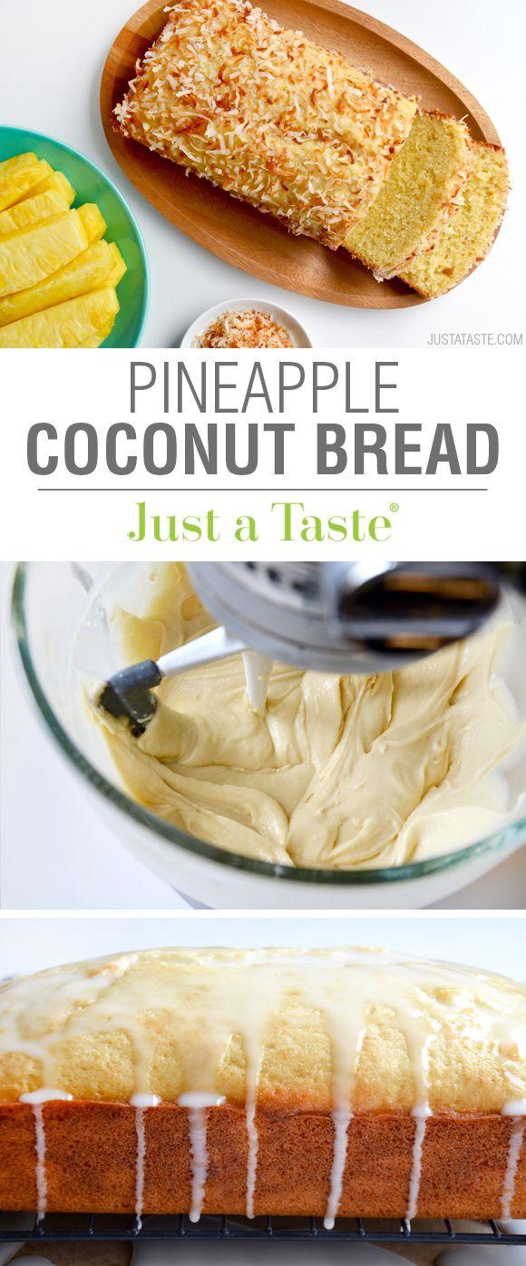 Glazed Pineapple Coconut Bread recipe via justataste.com