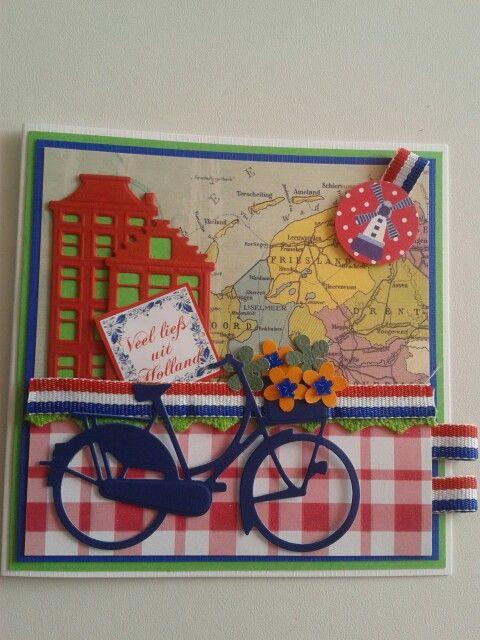 Veel liefs uit holland kaart met plattegrond nederland.fiets.grachtenpandjes en rood.wit.blauw lint...