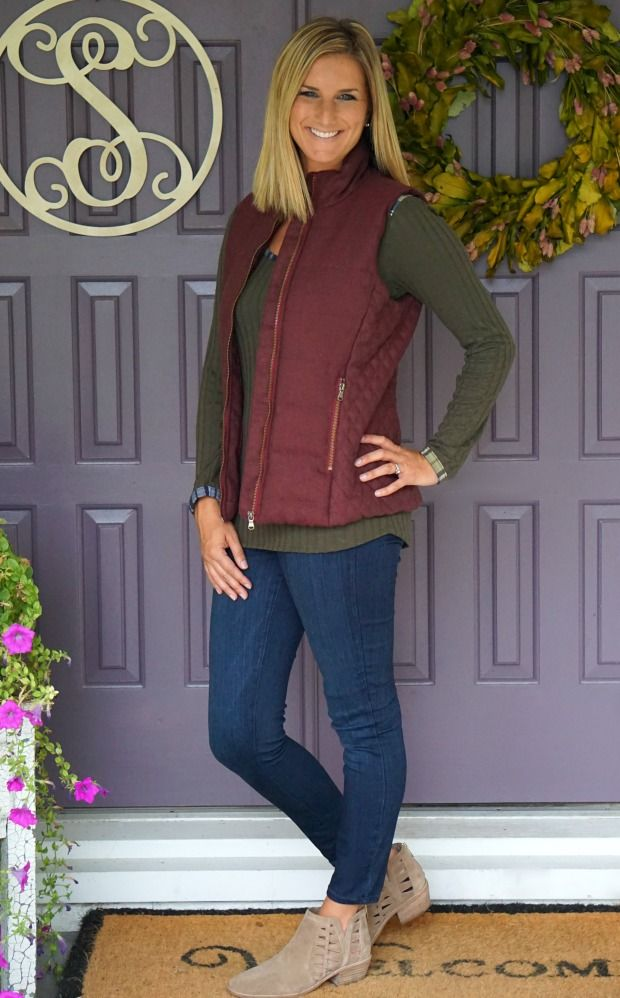 Fall vest - burgundy/wine with gold details. So cute with olive shirt underneath! Stitch Fix Tart Skyros Quilted Wool Vest