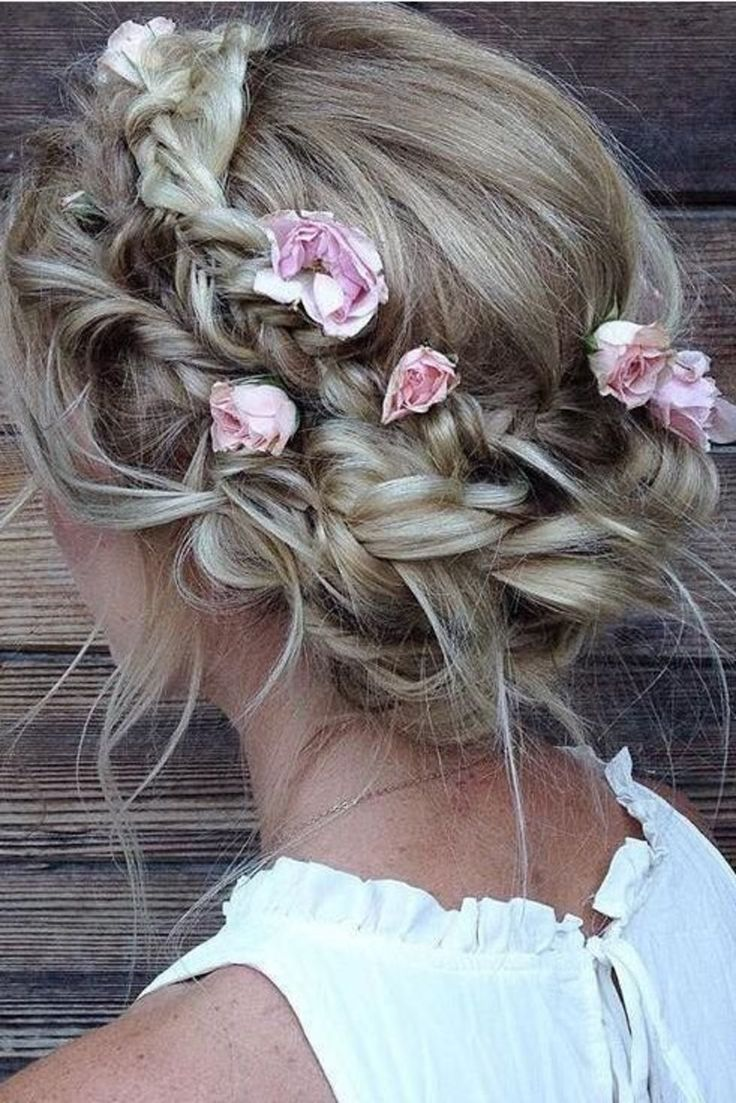 Messy halo braid with roses