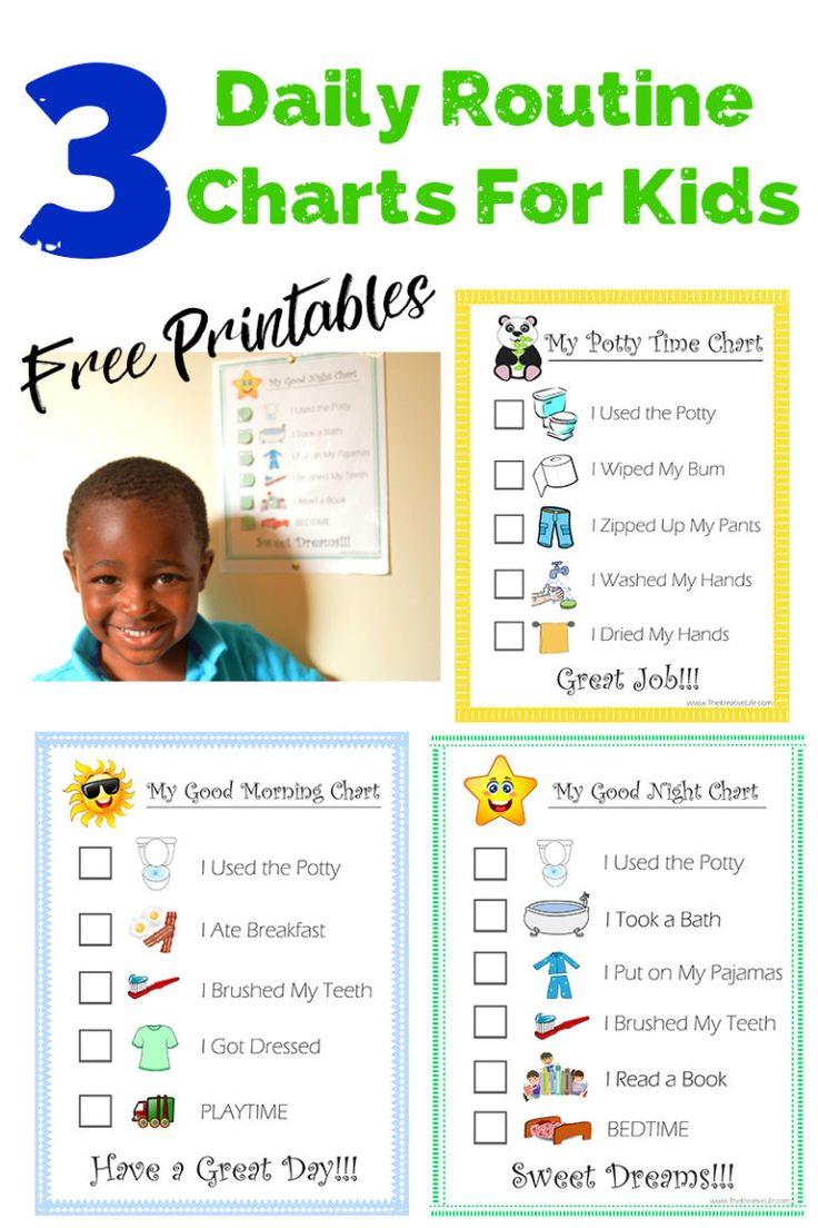 Free daily child routine chart printables daily routine