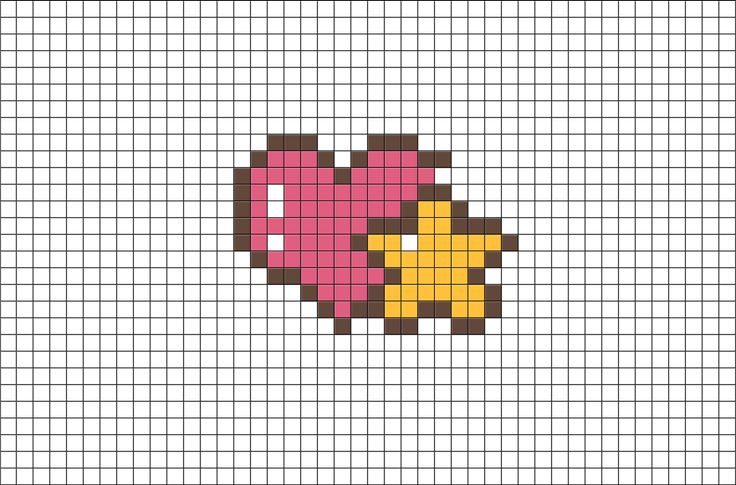 heart and star pixel art