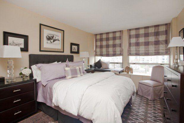 ekose desenli yatak odası perdeleri