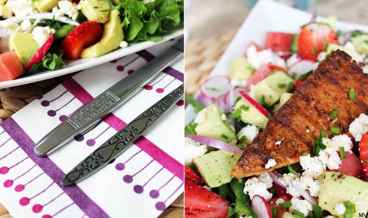 ♥ Avokado-melonisalaatti ja grillattua tofua