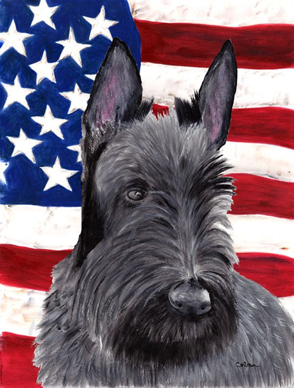 USA American Flag with Scottish Terrier Flag Canvas House Size