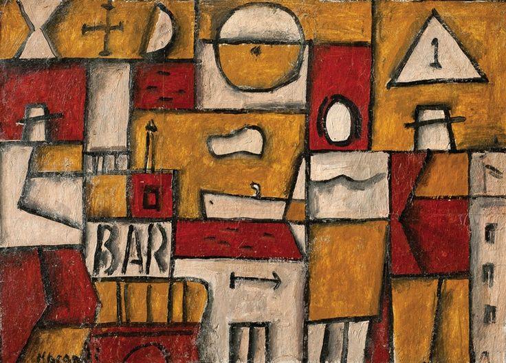 Constructivo bar MARTA MORANDI (1936-2004) Óleo sobre cartón 40 x 55 cm. Firmado abajo izquierda