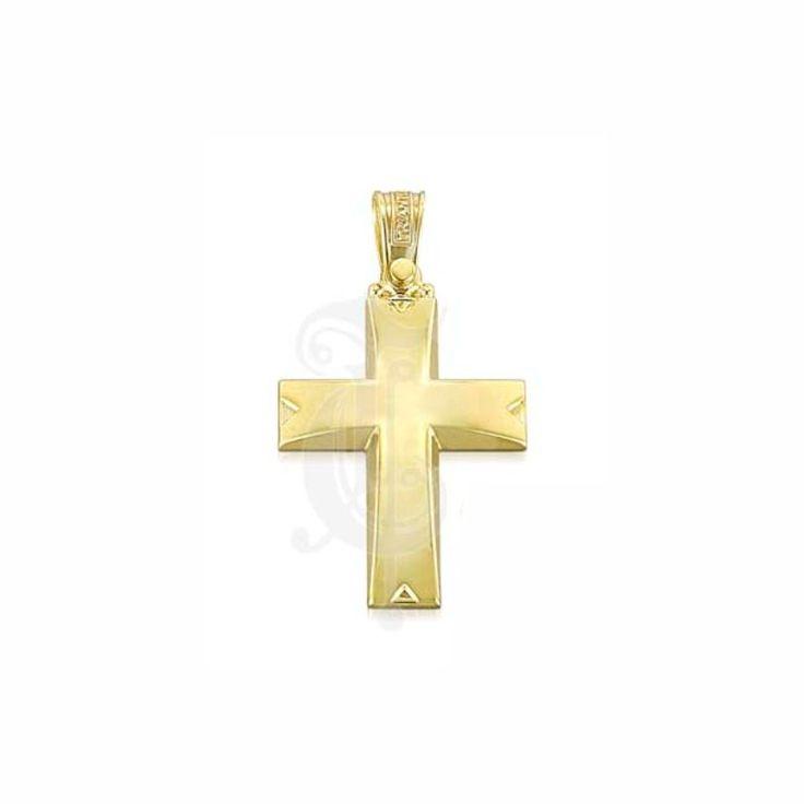 Ένας λιτός σταυρός βάπτισης για αγόρι ΤΡΙΑΝΤΟΣ από χρυσό Κ14 σε γυαλιστερό φινίρισμα με λεπτομέρεια στα άκρα | Σταυροί βάπτισης ΤΣΑΛΔΑΡΗΣ στο Χαλάνδρι #βαπτιστικός #σταυρός #βάπτισης #Τριάντος #αγόρι