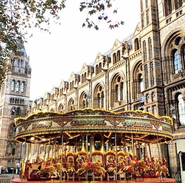 The 9 highlights of Christmas in London! The annual carousel at the Natural History Museum in London is a beloved part of South Kensington's seasonal decorations. The ice skating rink is a great one, too!