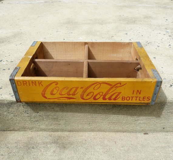 Vintage yellow wooden coca cola crate coke advertising for Wooden soda crate ideas