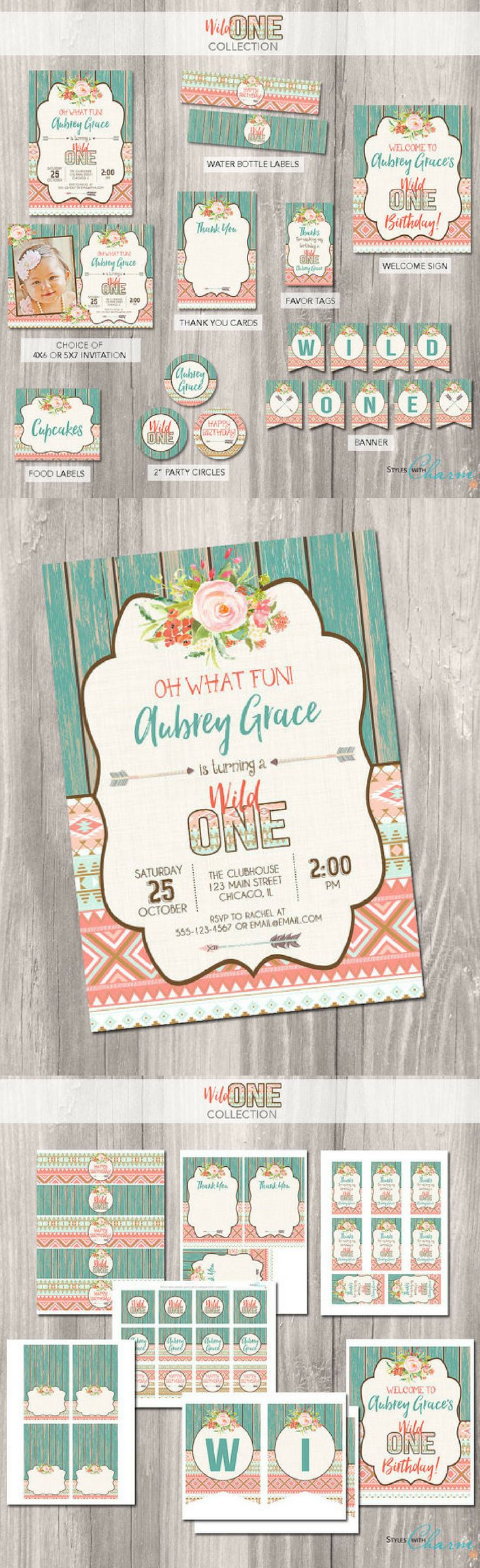 wording ideas forst birthday party invitation%0A Wild One Birthday Party Decoration Package   First Birthday Party Decor    Wild One Printables   Invitations  Cupcake toppers  Banner  Food Labels