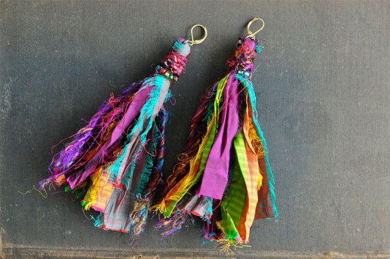 Colorido gitana Tribal Boho Sari seda pendientes