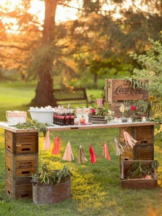 rustic country wedding bar / http://www.deerpearlflowers.com/wedding-food-bar-ideas/2/