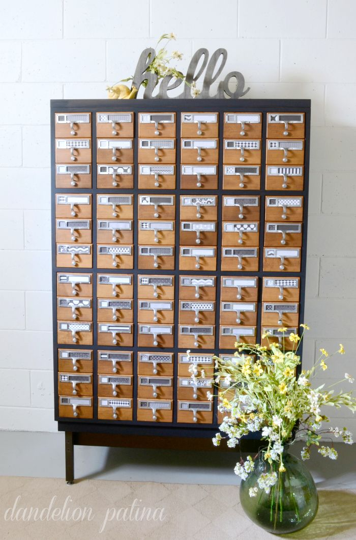 """Two tone painted card catalog"" -- Instructions and many more photos at the click-through. Love her black and white graphic labels, too."