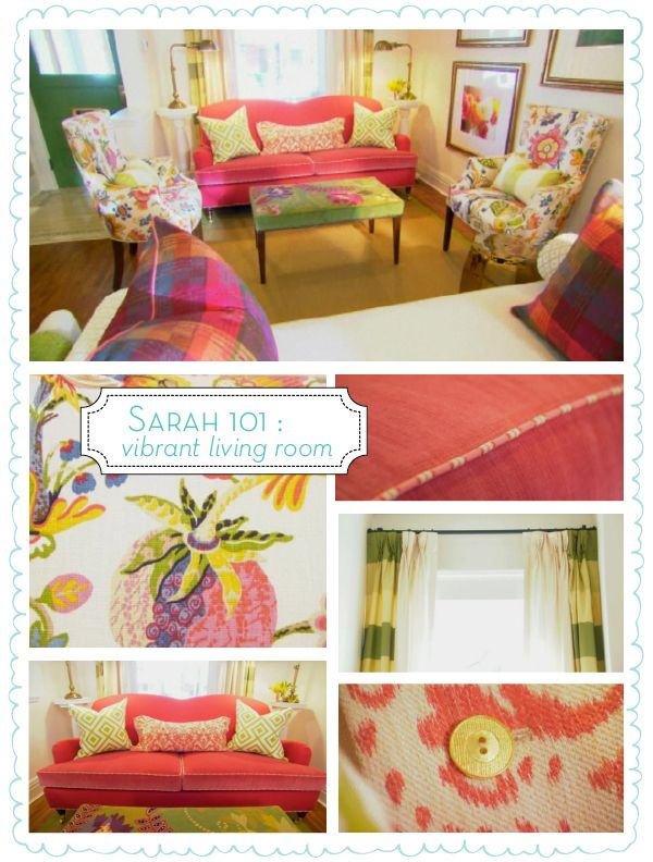 THE inspiration for Alice's Wonderland Tea Party Nursery! Absolutely superb! Fushia velvet bumper pads with piping, floral comforter, bold blocked window treatments, upholstered ottoman, vintage plates, PERFECTION!
