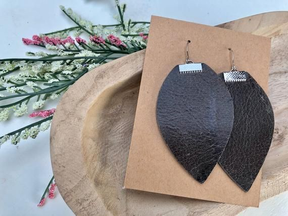 EXCLUSIVE Elephant Gray Genuine Leather Earrings | Small Single Cut Leaf | Joanna Gaines Inspired