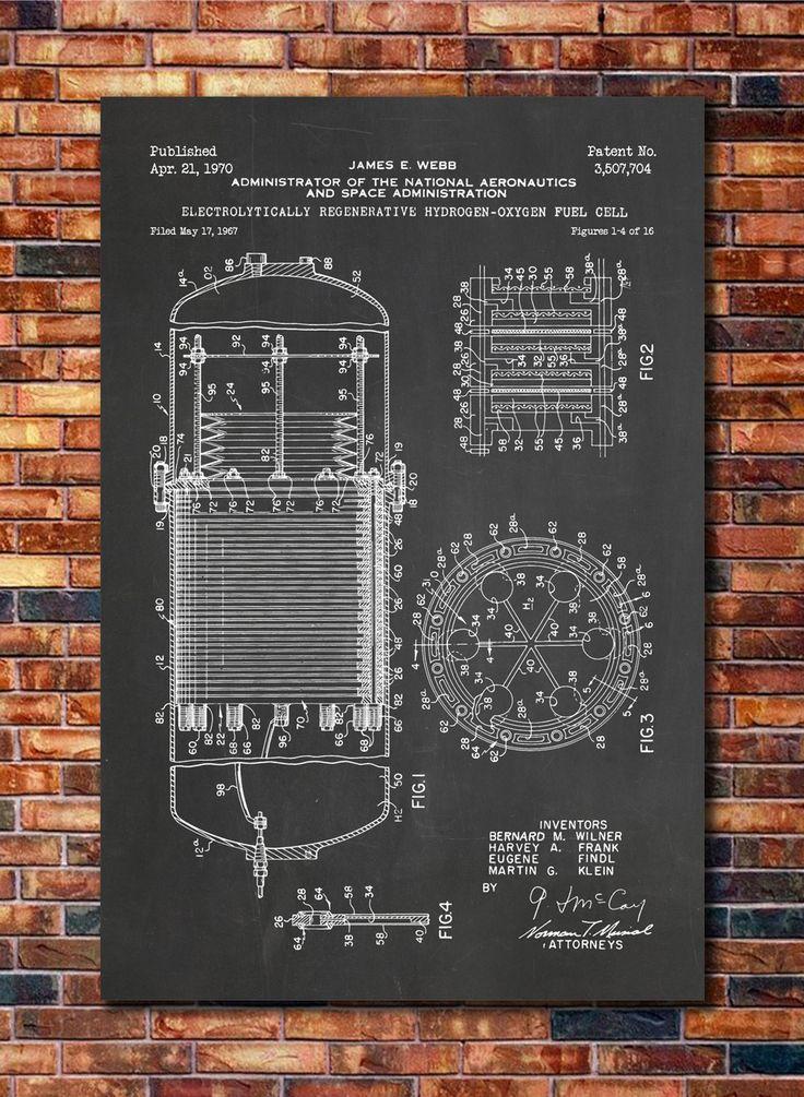 Hydrogen Fuel Cell NASA Patent Print Art by CatkumaPatentPress