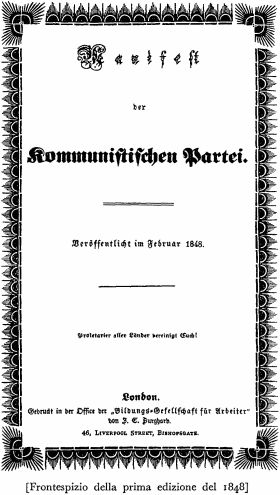 """Copertina originale del """"Manifesto del partito comunista"""", scritto da Karl Marx e Friedrich Engels fra il 1847 e il 1848 e pubblicato a Londra il 21 febbraio del 1848."""