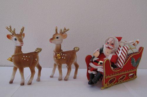 Vintage Santa Sleigh and Reindeer Decorations 1960s by hmdavid, via Flickr