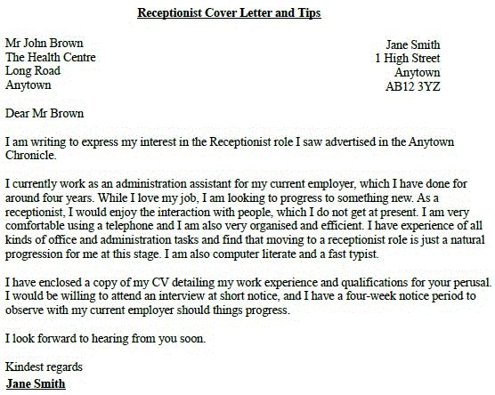receptionist job application cover letter example lettercv dental - receptionist cover letter