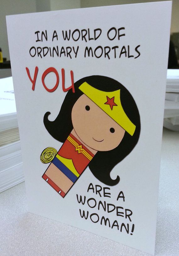 You Are a Wonder Woman original art card Mother's Day by mimiboo, $4.00