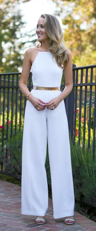 white wide leg spaghetti strap high neck halter jumpsuit with gold and nude leather bar waist belt for my engagement party