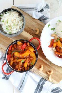 kip pilav met perzik en rijst