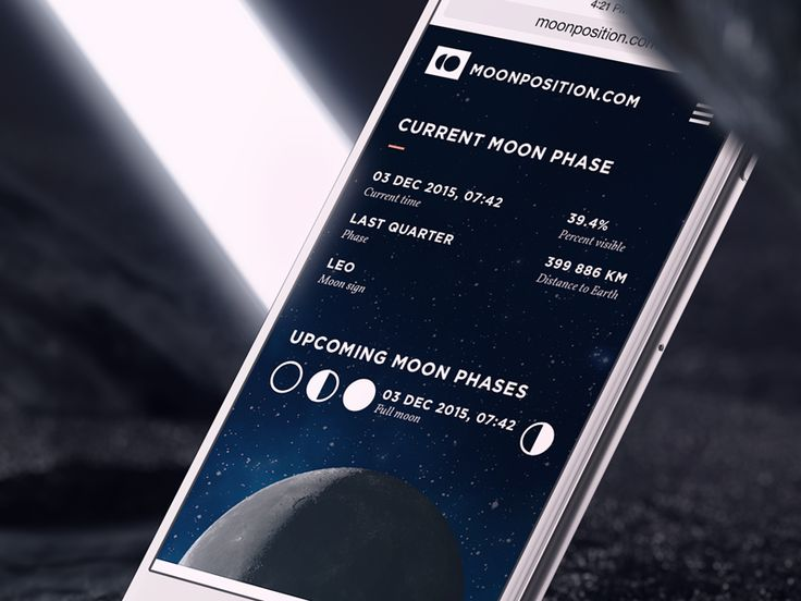 New and updated responsive version of moonposition.com Enjoy ;)  ARISE creative agency is focused on UX/UI design for mobile and web applications  Our website  http://arise.agency/  Have a new proj...