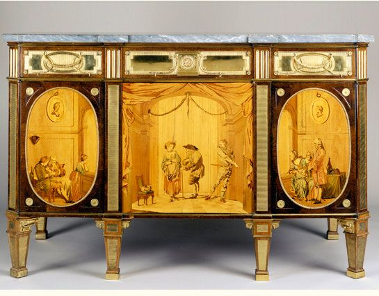 Chest with scenes from the commedia dell'arte. David Roentgen, Januarius Zick. Neuwied, 1780 oak, spruce wood, veneered with various woods, mother of pearl and marble.