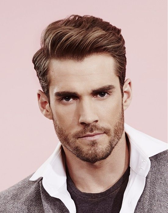 Medium Brown Side-Parting Wavy Hairstyle Haircut For Men