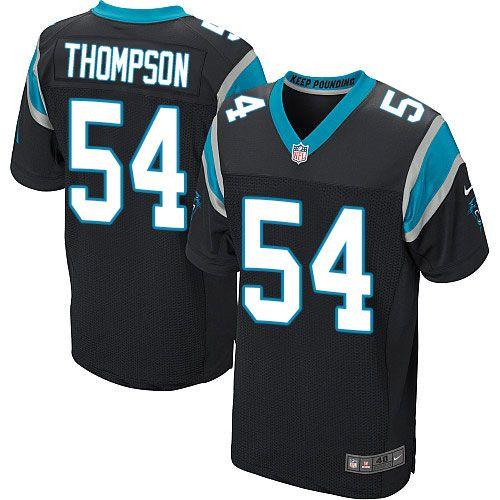 Nike Elite Shaq Thompson Black Men's Jersey - Carolina Panthers #54 NFL Home