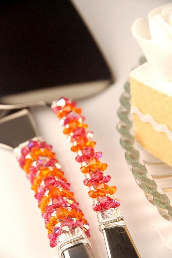 Pink And Orange Wedding Cake Cutting Set Custom Swarovski Knife Server Beads Table Decor Bridal Shower Birthday Party Cutter Crystal
