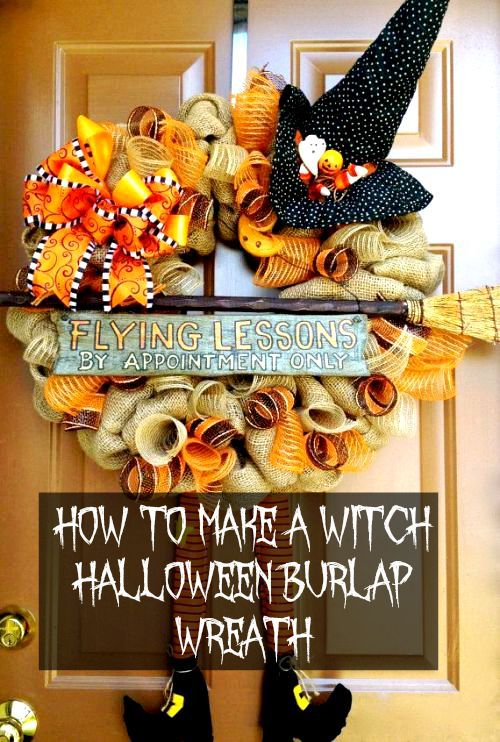 How to Make a Witch Halloween Burlap Wreath (Video). Make this simple wreath to welcome trick-or-treaters and guests this Halloween and fall season. #halloween #tutorial #crafts #diy