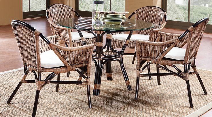 Rattan Casual Dining Room Sets With 4 Chairs