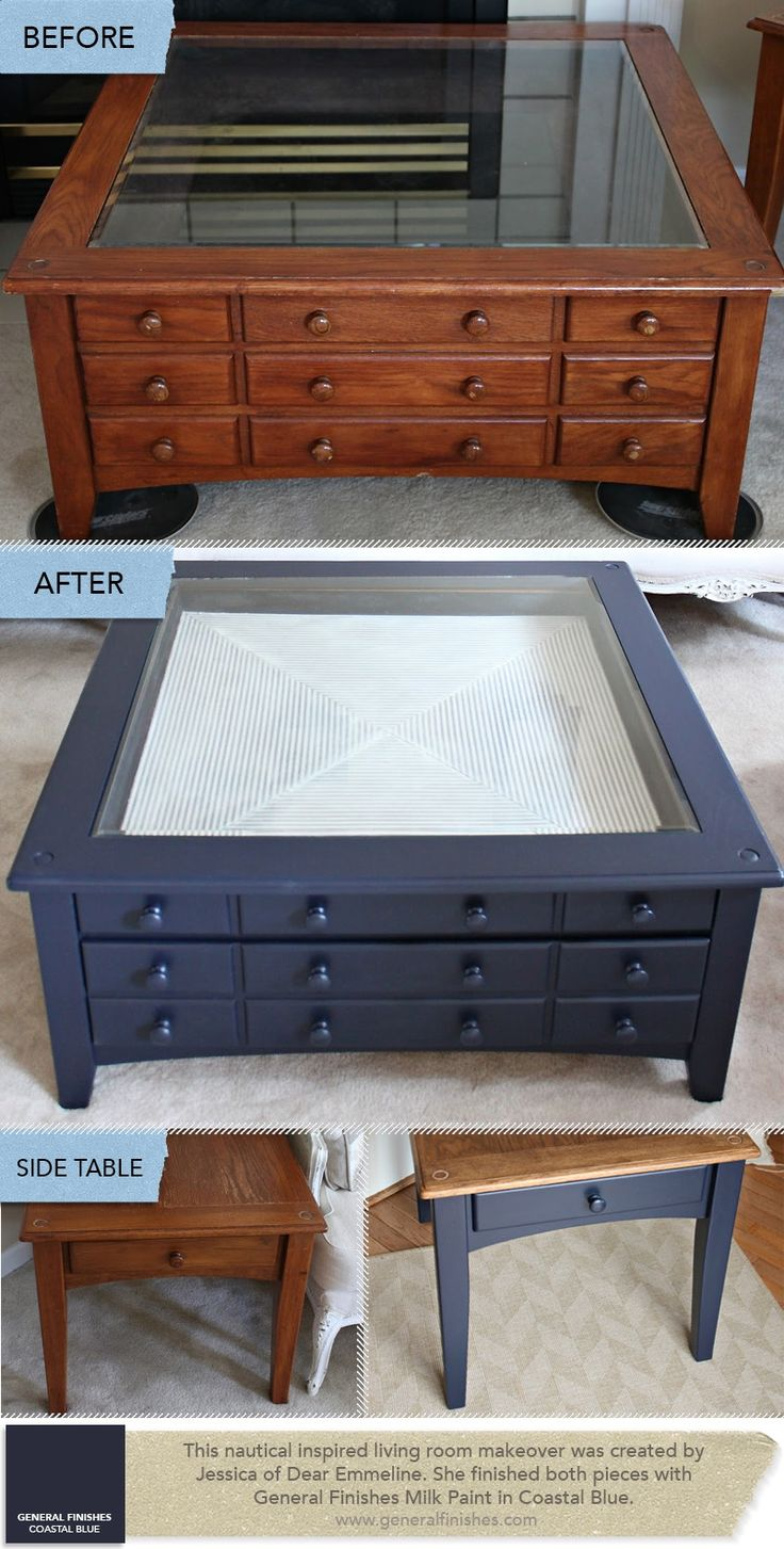 nauyical painted furniture   Nautical Tables Refinished in General Finishes Coastal Blue Milk Paint ...