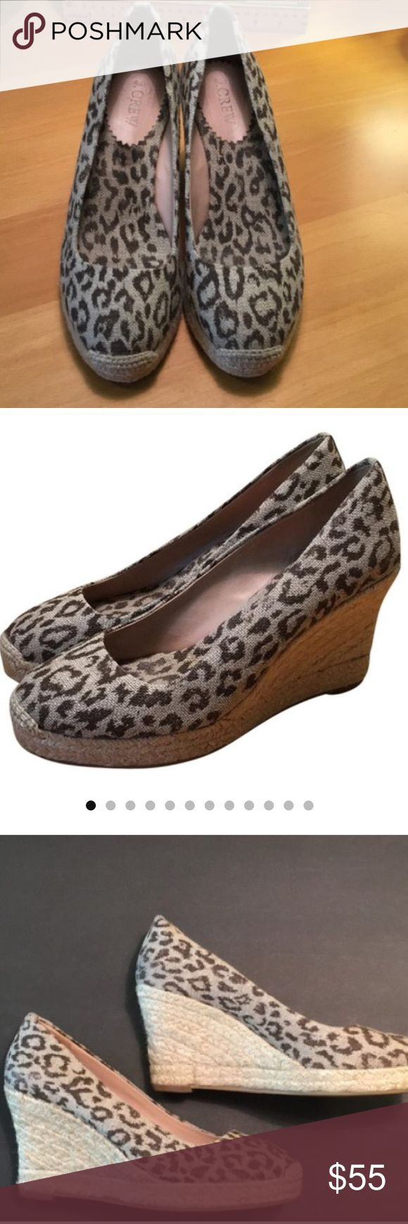 J CREW LEOPARD WEDGE ESPADRILLES Sz 6. J Crew leopard wedge Sz 6, heel height 3-4 inches , tan color , heel style wedge,width Regular ,never worn .. Shoes Wedges