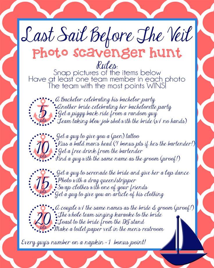 Bachelorette party scavenger hunt #nautical #bachelorette #party