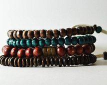 African nubien océan Bracelet fait main en Australie. Streetwear OKSINC naturelle des tons masculine, en bois perles bracelet boho. Plage.