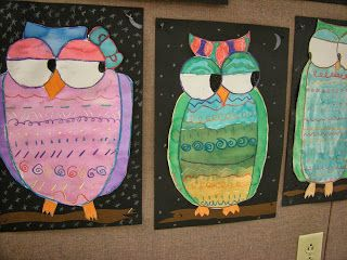 In Art class, third graders have been studying different types of lines. Students created a step by step drawing of an owl, drawing one line...