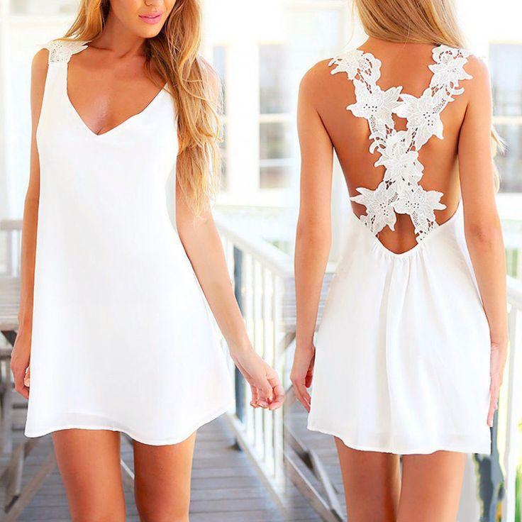 Elegant Sexy Mini White Dress Without Sleeve Beach Sun Dress Drop