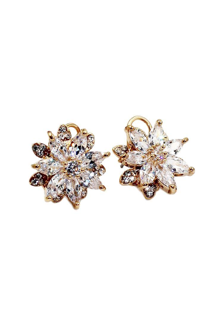 Brilliant Crystal Flower Earrings