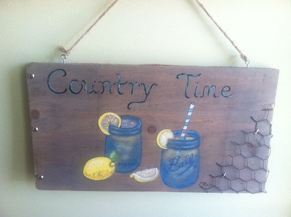 """Wood Sign Country Time Painting, Mason Jars Lemonade, Country Chic, Kitchen Decor, Chickenwire, Vintage, 17"""" x 9"""""""