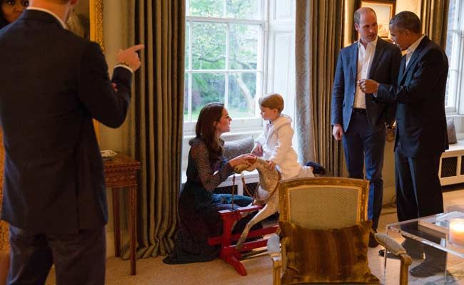 For President Obama, Prince George Busts Bedtime. In His Jammies.