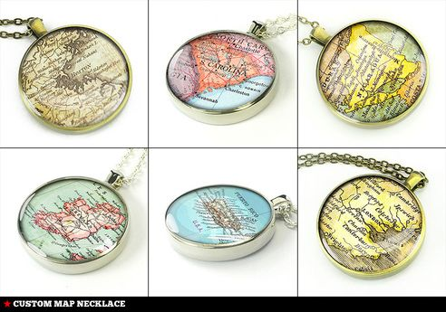 Personalized map necklace, customized map jewelry pendant - C01