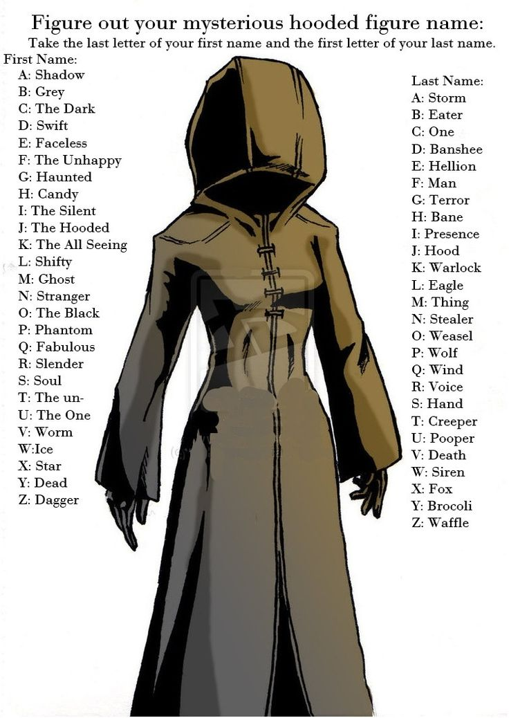 Mysterious Hooded Figure Name | Find your name | Pinterest ...