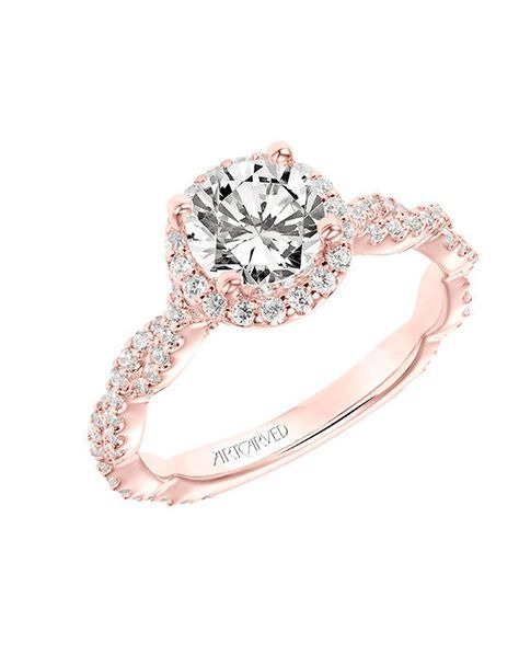 ArtCarved diamond halo engagement ring with diamond twisted shank in rose gold with round cut I Style: 31-V767ERRR-E.00 I https://www.theknot.com/fashion/31-v767errr-e00-artcarved-engagement-ring?utm_source=pinterest.com&utm_medium=social&utm_content=june2016&utm_campaign=beauty-fashion&utm_simplereach=?sr_share=pinterest