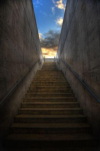 Stairs, Honpuku-ji temple, Awaji, Hyogo, Japan. Work of Tadao Ando