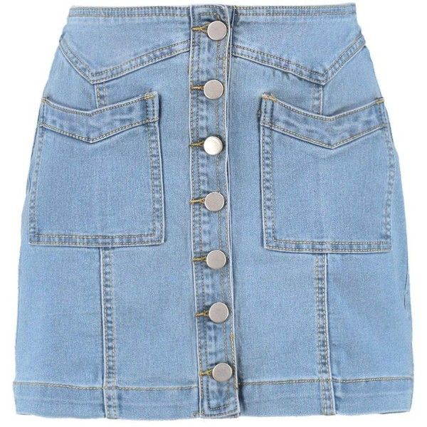Boohoo Julie Double Pocket Button Through Denim Skirt   Boohoo ($19) ❤ liked on Polyvore featuring skirts, high-waisted skirts, high waisted skirts, ripped denim skirt, straight skirt and distressed denim skirt